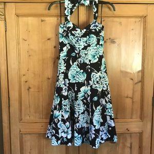 White House Black Market strapless halter dress-4